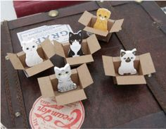"""Pick your favorite kitty in a box as your desktop sticky notes. These cute little critters pop up out of the DIY cardboard box (cutout and instructions included)! Measuring approximately 1.5"""" tall, yo"""