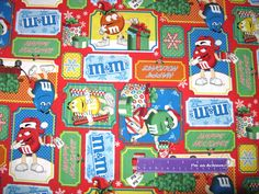 Mars Christmas M&M's Dudes Gift Present Patch M M Chocolate Candy Cotton Fabric By The Half Yard by DaMommasTextiles on Etsy