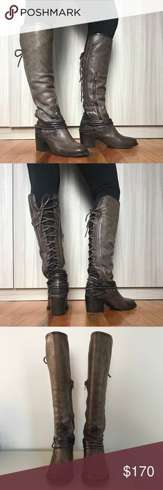Freebird by Steven Coal Grey Knee High Boots Sz 6 Used but in great condition Freebird Coal boots. Only wear on soles of boots. Leather is purposefully distressed. Freebird by Steven Shoes