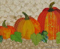 Quilt Wall Hanging  Autumn Pumpkins   by TerryAskeArtQuilts