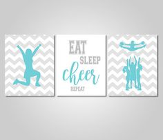 Cheerleading Wall Art Decor Instant Download Printable - Cheer Wall Art Prints - Teal Grey Cheer Bedroom Decor by KookyburraPrints on Etsy https://www.etsy.com/listing/487107738/cheerleading-wall-art-decor-instant