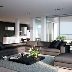 Modernes Wohnzimmer mit offener Küche