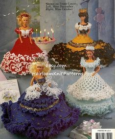 "Fashion Doll, Barbie Doll Crochet Pattern Party Dresses, To Fit Fashion Doll, Barbie Doll 11 1/2"", Vol 2, Crochet Pattern Booklet PDF - 1006"