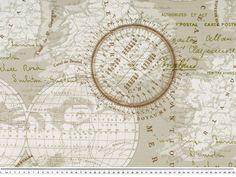 Stoff Weltkarte retro