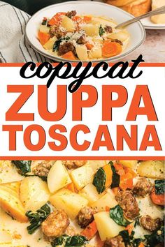 Copycat version of your favorite Olive Garden Zuppa Toscana soup! And there's even a Whole 30 version that's healthy and delicious! Healthy Muffin Recipes, Baby Food Recipes, Soup Recipes, Healthy Snacks, Vegetarian Recipes, Breakfast Recipes, Breakfast Healthy, Crockpot Recipes, Zuppa Toscana Suppe