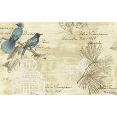Birds and Butterfly Wallpaper in Blues, Purple, and Neutrals design by... ($55) ❤ liked on Polyvore featuring home, home decor, wallpaper, blue floral wallpaper, inspirational wallpapers, butterfly wallpaper, blue pattern wallpaper and bird wallpaper