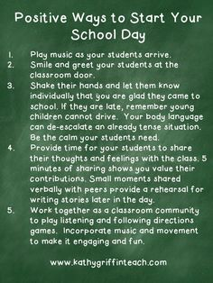 Positive Ways to Start Your School Day. Love this!
