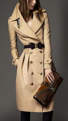 Burberry - Long Cotton Gabardine Leather Detail Trench Coat
