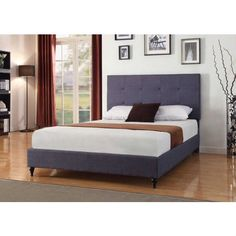 Queen size Dark Charcoal Blue Linen Upholstered Platform Bed with Headboard
