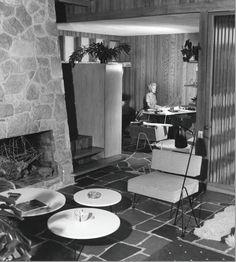 Greta Grossman floor lamp in a mid century modern interior