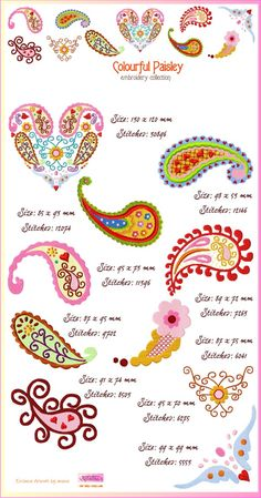 Paisley embroidery designs from Roughing it Smoothly.