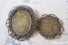 You'll receive 6 pcs of antique bronze lovely oval cameo base settings. Size: 46x57mm Glue size: 30x40mm They are stocked in a smoke-free house and ready to ship. I'll try my best to present every detail of the items listed in my shop. Hope ...