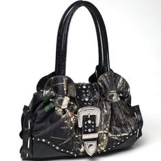 Mossy Oak Black Shoulder Bag Studded Rhinestone Bling Hobo Tote Bag  Price : $57.99 http://www.camochique.com/Mossy-Oak-Shoulder-Studded-Rhinestone/dp/B00E7Q9356