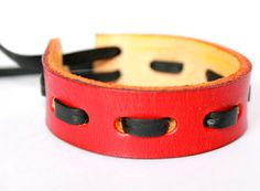 HANDMADE LEATHER BRACELET leather cuff red