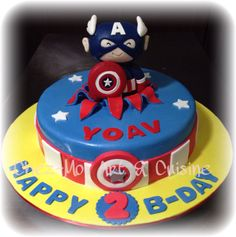 Baby Captain America Birthday Cake