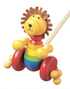 Lion Push Along by Orange Tree. This Lion Push Along toy from Orange Tree is the MANE attraction! Handcrafted from solid wood and vividly painted, this timeless Lion Toys, Pull Along Toys, Push Toys, Traditional Toys, Nursery Furniture, Toy Boxes, Toddler Toys, Toddler Gifts, Toddler Preschool