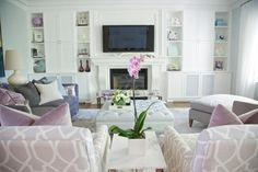 love this color theme for bedroom, white lilac pastel interior decor with orchid and glass accents