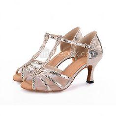 f68635642fe79 Chaussures de danse(Noir   Argent   Or) -Personnalisables-Talon Bobine-