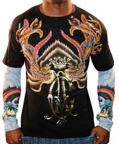b3f7044550f CHRISTIAN AUDIGIER Ed Hardy Platinum Phoenix Mens Long Sleeve T-Shirt Tee  Top (Apparel) For Private Sale Only at JustSell. Use the power of your  social ...