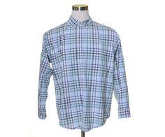 """ST. JOHN'S BAY Navy Blue White Green Plaid Button SUPER SOFT Dress Shirt 52"""" XL #StJohnsBay #ButtonFront"""