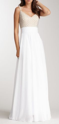 Beaded V-Neck Banded Gown