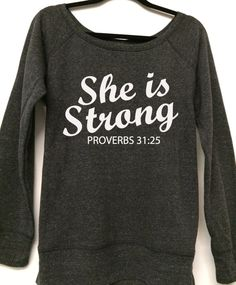 She Is Strong Wideneck Pullover Sweater. Workout by WorkItWear, $36.00