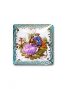 Limoges 1 Plaque Porcelaine Limoges 33 33 Turquoise Decor Fragonard | eBay