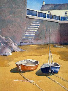Boats in Castletown Harbour (Isle of Man) by Peter Robinson Unique Buildings, City Buildings, Archibald Knox, Peter Robinson, Irish Sea, Man Art, Building Art, Manx, Watercolour Art