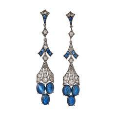 Art Deco Cabochon Sapphire and Diamond Drop Earrings