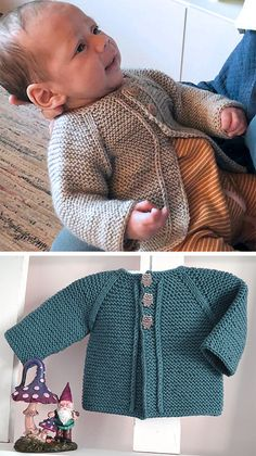 Baby Sweater Patterns, Baby Cardigan Knitting Pattern, Knitted Baby Cardigan, Knitted Baby Blankets, Crochet Baby Booties, Baby Knitting Patterns, Baby Blanket Crochet, Knitting Stitches, Baby Patterns