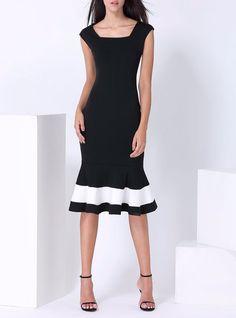Black Cotton-blend Color-block Cocktail Sheath Midi Dress
