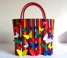 Large Fabric Bag  Butterflies Handmade Bag  Large by EmasCorner.