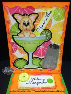 "Margarita love card. You're the Salt to my Margarita.  Scrappy Moms Stamps ""You're my Everything 2!"" stamp set.  Details on my blog http://pannelldesigns.blogspot.com/2015/01/2nd-project-introducing-scrappy-moms.html"