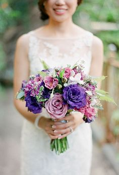 Wedding Bouquet Ideas: Purple Garden Roses - http://www.diyweddingsmag.com/wedding-bouquet-ideas-purple-garden-roses/