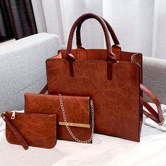 3 Set Designer Women Leather Crossbody Bags – KES Store Leather Satchel Handbags, Leather Crossbody Bag, Pu Leather, Leather Bags, Crossbody Bags, Leather Totes, Leather Backpacks, Clutch Bag, Luxury Handbags