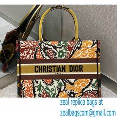 Dior Small Book Tote Bag in Multicolor Paisley Embroidery Yellow 2021