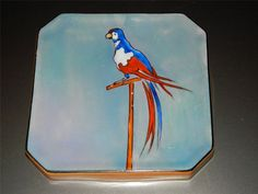 "VTG NORITAKE Art Deco PARROT on perch  Lustre ware TRIVET handpainted 5x5"" #Noritakegreenlabel"
