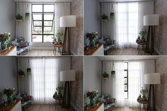 cortina com trilho e varão suíço, com forro em tergal franzido e cortina em linho sintético com prega 3×1