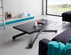 Elegante y práctica mesa de comedor o salón regulable en altura y extensible en anchura. Color de la mesa: negro. Patas metalizadas acabado epoxy. Medidas: 60/120x110x33/80cm. Tiene dos alturas: 33cm(baja) y 80cm(alta). Tiene dos tamaños: cerrada 110 x 60cm, abierta 110 x 120cm. Las patas tienen ruedas, de color negro.