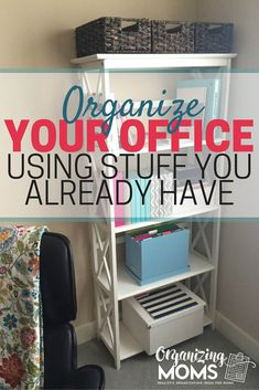 Tips and tricks for organizing your office using stuff you already have. Create your own makeshift office space, boost productivity and get organized! Office Organization Tips, Organizing Paperwork, Home Office Storage, Home Office Design, Organizing Your Home, Home Office Decor, Home Decor, Clutter Organization, Organizing Small Office Space
