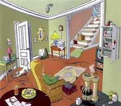 There are 14 DANGEROUS things in this picture. Can you spot ALL of them?     Answers Here: http://www.mobility123.com/fall-prevention-spot-the-dangers/