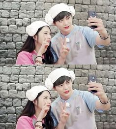 Yook Sungjae and Joy Red Velvet Ice Cream, Red Velvet Joy, Wgm Couples, Cute Couples, Yook Sungjae, Btob, South Korean Girls, Korean Girl Groups, Sungjae And Joy