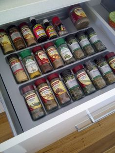 A simple way to organise your herbs and spices! A drawer insert!