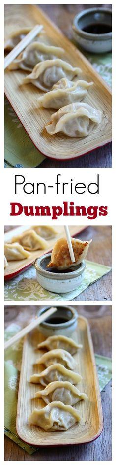 Pan-fried dumplings - the BEST and EASIEST pan-fried dumplings, homemade, easy, quick, an SO good!!   rasamalaysia.com