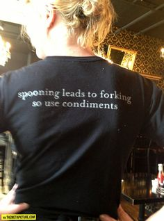 This was on our waitress' shirt…Mother's in Portland! Looooooove that place!