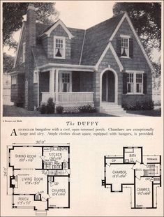 Home Builders Catalog - 1929 Duffy - American Residential Architecture - English Eclectic Cottage. The floor plan approximates my house, except that originally there was no bath, and there are still no closets. Cottage Floor Plans, Cottage Plan, Small House Plans, Cottage Homes, House Floor Plans, Architecture Résidentielle, English Architecture, Vintage House Plans, Storybook Cottage