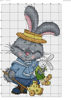 Bunny and bunny. Cross stitch.