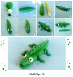 BlackBetty'sLab: cake topper- DIY Tutorial FIMO Polymer clay - simple and easy crocodile Clay Crafts For Kids, Kids Clay, Diy For Kids, Fondant Animals, Clay Animals, Crocodile Cake, Fondant Decorations, Fondant Tutorial, Diy Tutorial