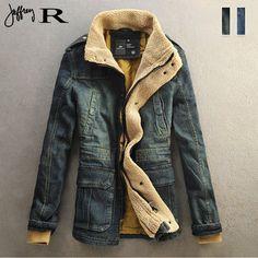 мужские Ретро мото байкер меховой воротник джинсовой джинсовая куртка пальто траншеи пиджаки проложенный