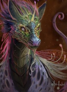 ArtStation - Fae Unicorn Dragon, Mat André - # André - New Ideas Mythical Creatures Art, Mythological Creatures, Magical Creatures, Japanese Mythical Creatures, Cool Dragons, Beautiful Dragon, Dragon Artwork, Creature Drawings, Creature Concept